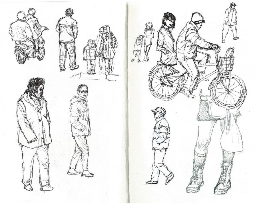 Прохожие люди рисунок
