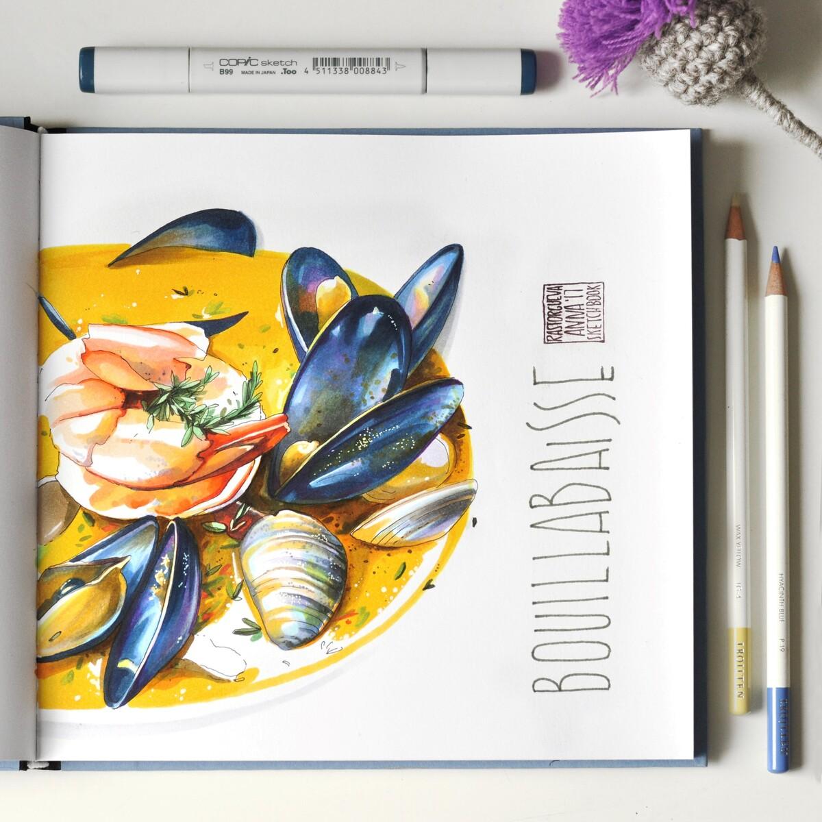 <p> Буйабес &mdash;&nbsp;традиционный суп французской ривьеры. <br>Вдохновляющее разнообразие форм морепродуктов и их переливы в ярком и насыщенном бульоне.</p>